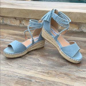 Girls Steve Madden denim wedge sandals
